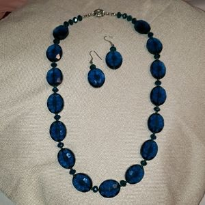 Blue Faux Gem Necklace & Earrings Set